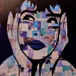 Blue Lady / 60*60cm / sur toile / technique mixte / 250€