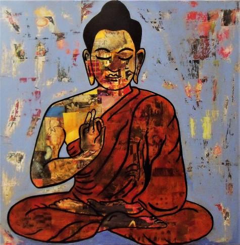 Bouddha / 60*60cm / sur toile / technique mixte / 240€