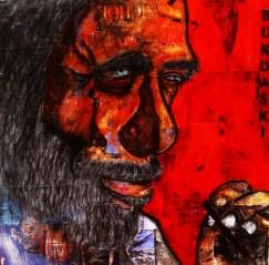 Bukowski / 40*40cm / papier Canson + passe partout / technique mixte / 60€