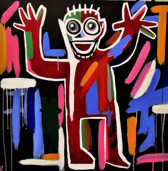 Façon Basquiat / 80*80cm / acrylique sur toile / 300€