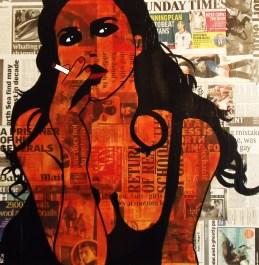 Femme à la cigarette / 40*40cm / papier Canson + passe-partout / 60€