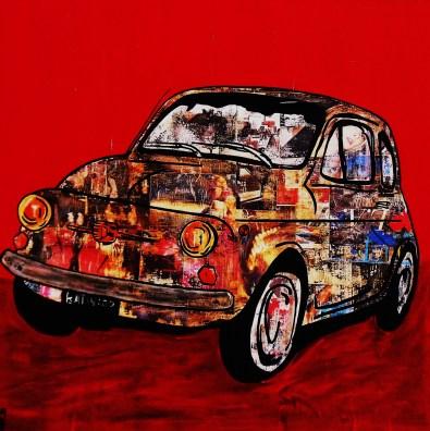 Fiat 500 / 60*60cm / sur toile / technique mixte