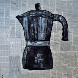 La Cafetière / 60*60cm / sur toile / technique mixte / 180€