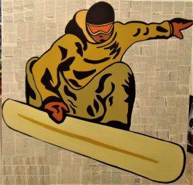 Le Surfeur / 80*80cm / sur toile / technique mixte / 300€