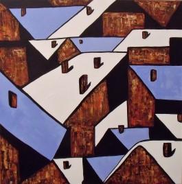Les Toits / 60*60cm / peinture au couteau sur toile / 240€