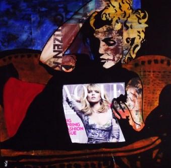 M. Vogue / 40*40cm / papier Canson + passe-partout / technique mixte / 60€