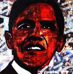 Obama / 40*40cm / papier Canson + passe-partout / technique mixte / 60€