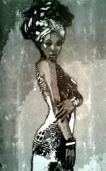 Blackwoman / 30*40cm / avec cadre noir (40*50cm) / 100€