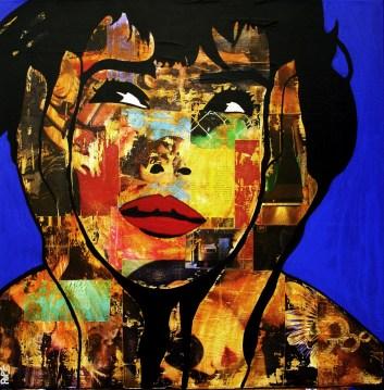 Blue Lady / 80*80cm / sur toile / technique mixte