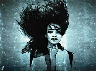 Cheveux au vent / 30*40cm / avec cadre noir (40*50cm) / 100€