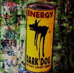 Dark Dog / 40*40cm / papier Canson + passe-partout / technique mixte 60€