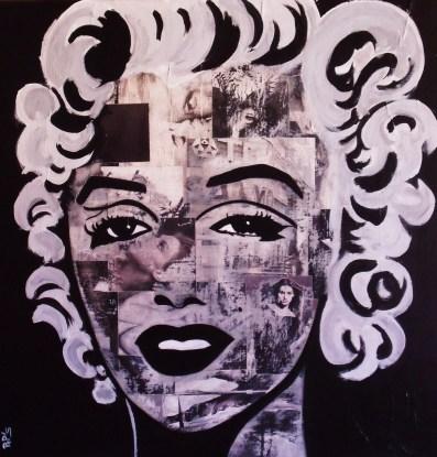 Marilyn Black&White / 80*80cm / sur toile / technique mixte