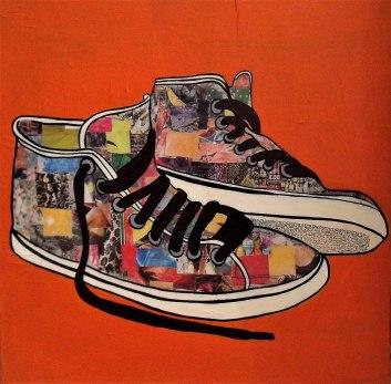 My Shoes / 60*60cm / sur toile / technique mixte