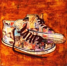 Shoes / 80*80cm / sur toile / technique mixte
